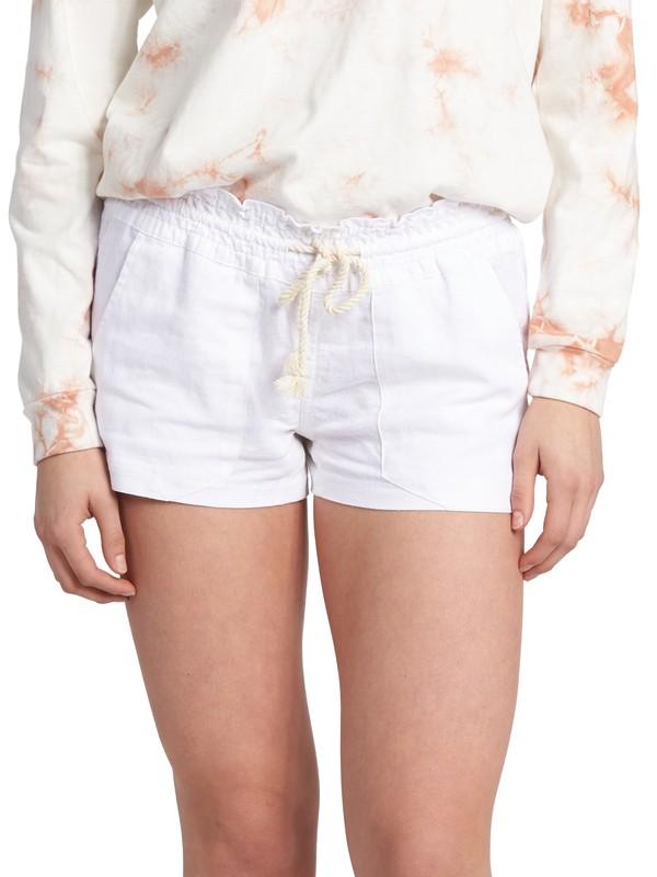 0 Oceanside Linen Beach Shorts White ARJNS03007 Roxy