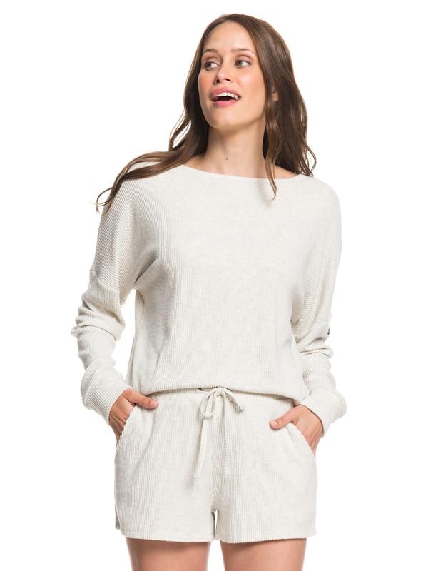 0 Forbidden Summer Cozy Rib Knit Sweat Shorts Beige ARJNS03115 Roxy