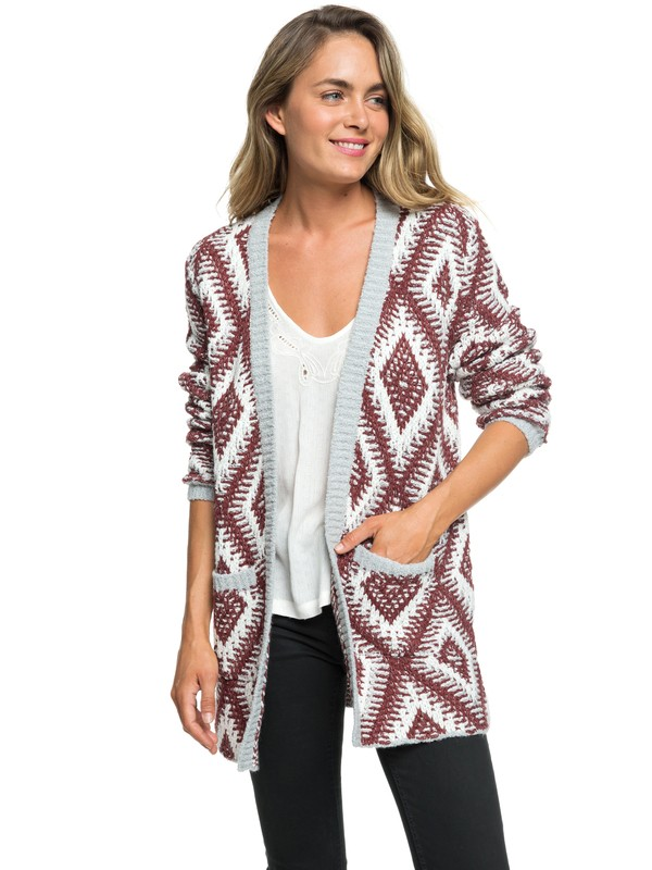 0 All Over Again Knitted Cardigan Grey ARJSW03219 Roxy