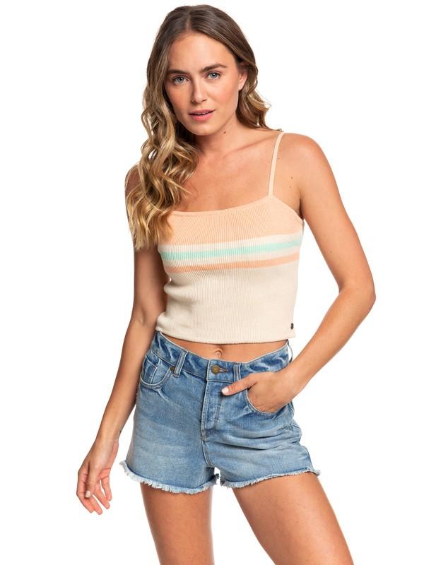 0 Camiseta Recortada con Tirantes -Coachella Vibes Beige ARJSW03224 Roxy