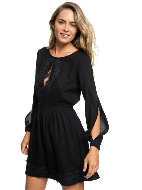 0 Side Of Motion Long Sleeve Lace Dress Black ARJWD03227 Roxy