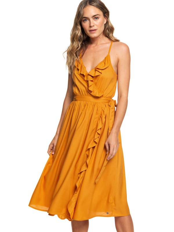 0 Rooftop Sunrise Midi Length Strappy Dress Orange ARJWD03237 Roxy