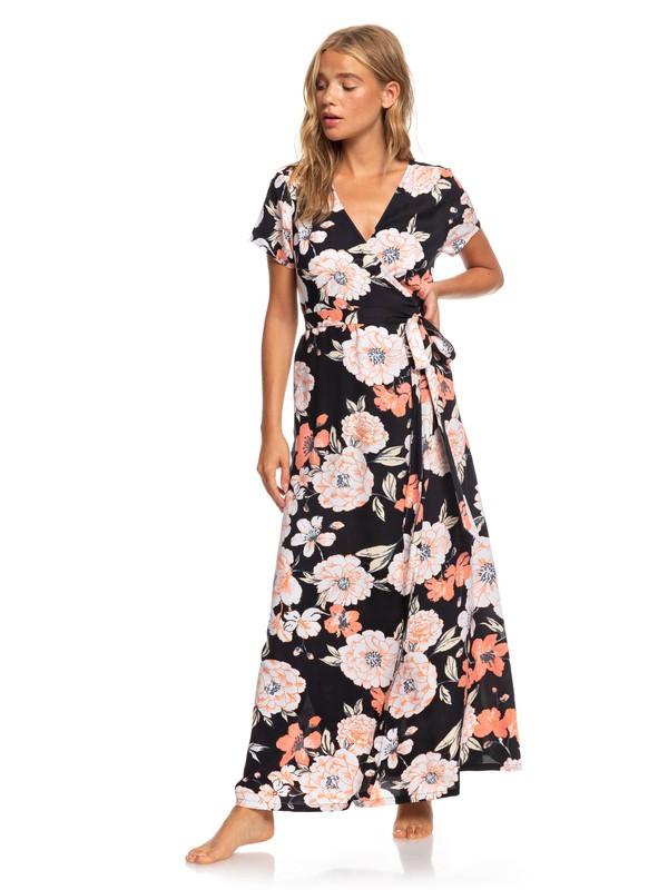 0 District Day Short Sleeve Maxi Dress Black ARJWD03267 Roxy