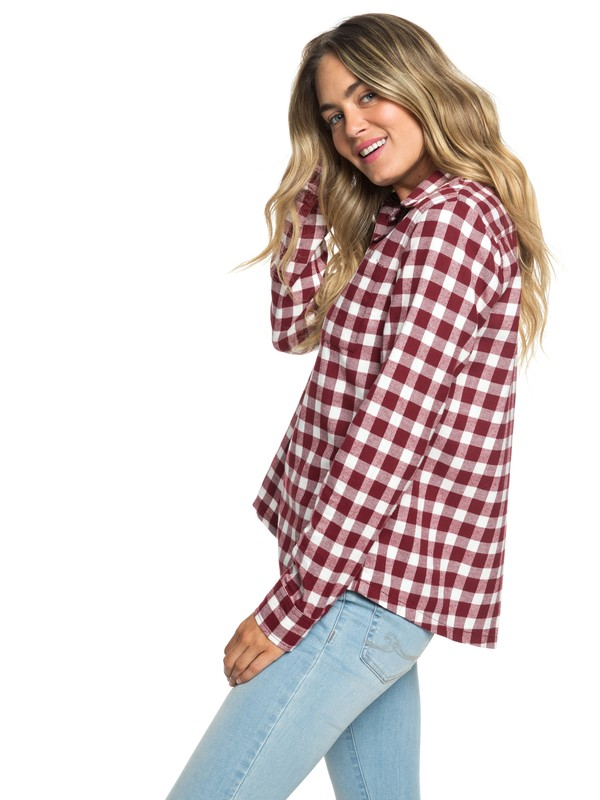 0 Concrete Streets Check Long Sleeve Flannel Shirt Red ARJWT03174 Roxy
