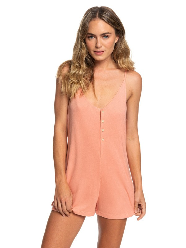0 Chill Love Ribbed Button-Front Romper Pink ARJX603113 Roxy