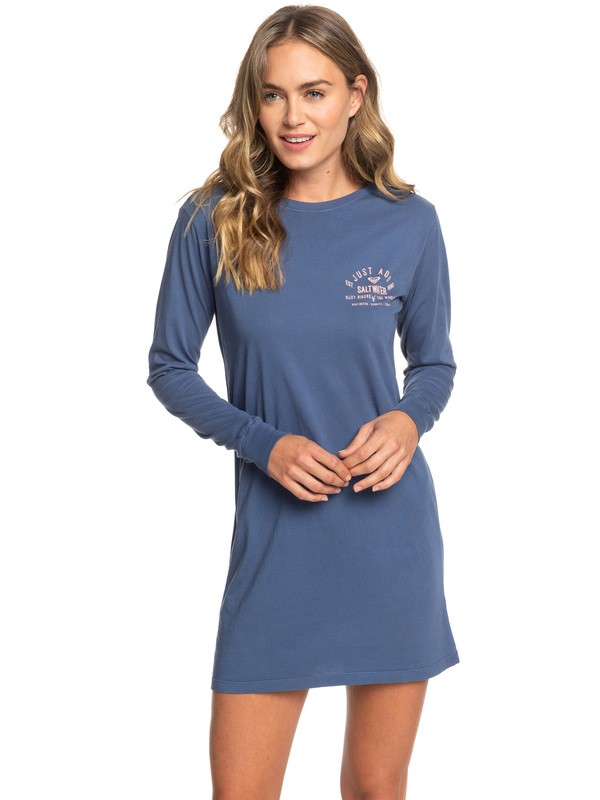 0 ROXY Saltwater Riders Long Sleeve T-Shirt Dress Blue ARJZT05160 Roxy