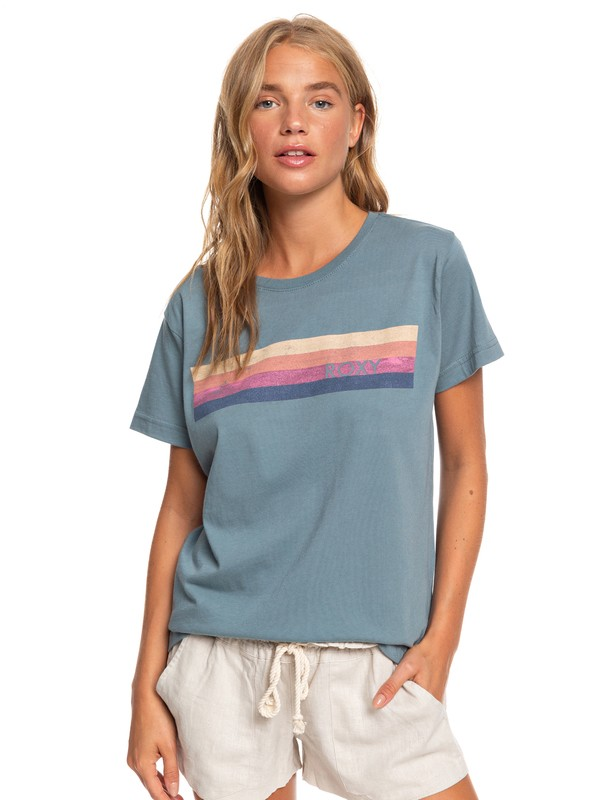 0 Retro Stripe Boyfriend Tee Blue ARJZT05642 Roxy