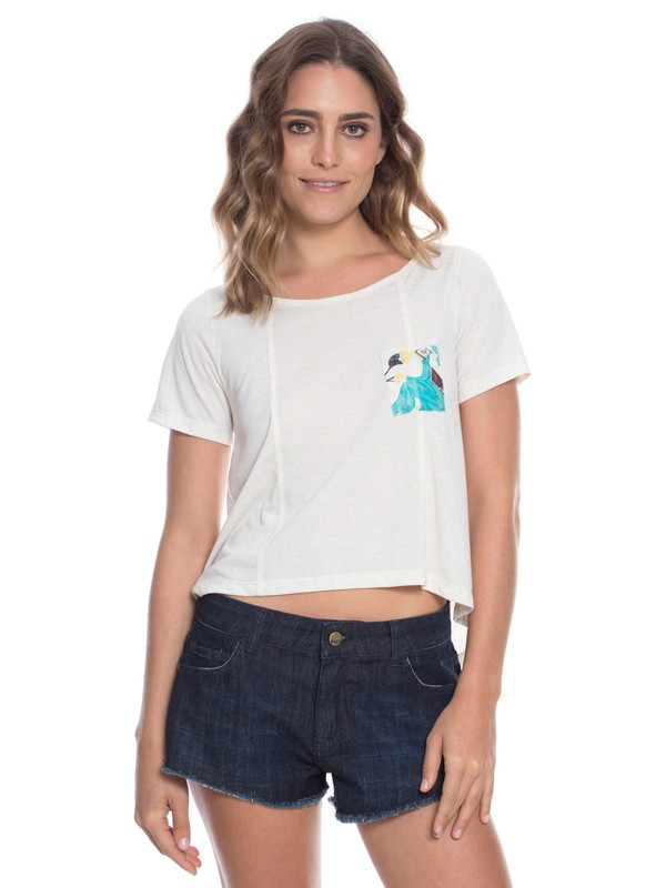 0 Camiseta Kantha Floral Branco BR73891342 Roxy