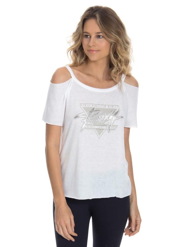 0 Camiseta Feminina Manga Curta Ombros Vazados Roxy Branco BR73911236 Roxy