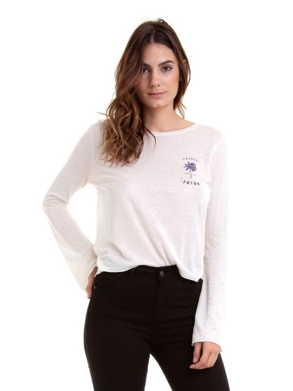 0 Camiseta Manga Longa Pipeline Roxy Branco BR73931099 Roxy