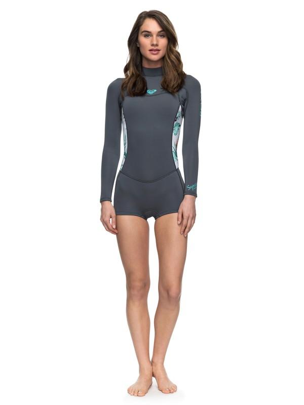 0 Wetsuit Short John 2/2mm Syncro Series Flatlock c/ Ziper nas Costas ROXY Azul BR79030104 Roxy