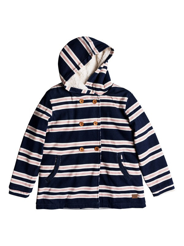 0 Keep On Waiting - Button-Up Hoodie for Girls 8-16 Blue ERGFT03295 Roxy