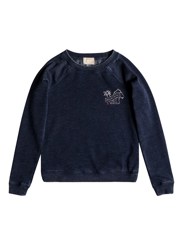 0 Girl's 7-14 Fingers Crossed Little Story Sweatshirt Blue ERGFT03305 Roxy