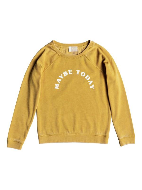 0 Girl's 7-14 Fingers Crossed Maybe Sweatshirt Yellow ERGFT03306 Roxy