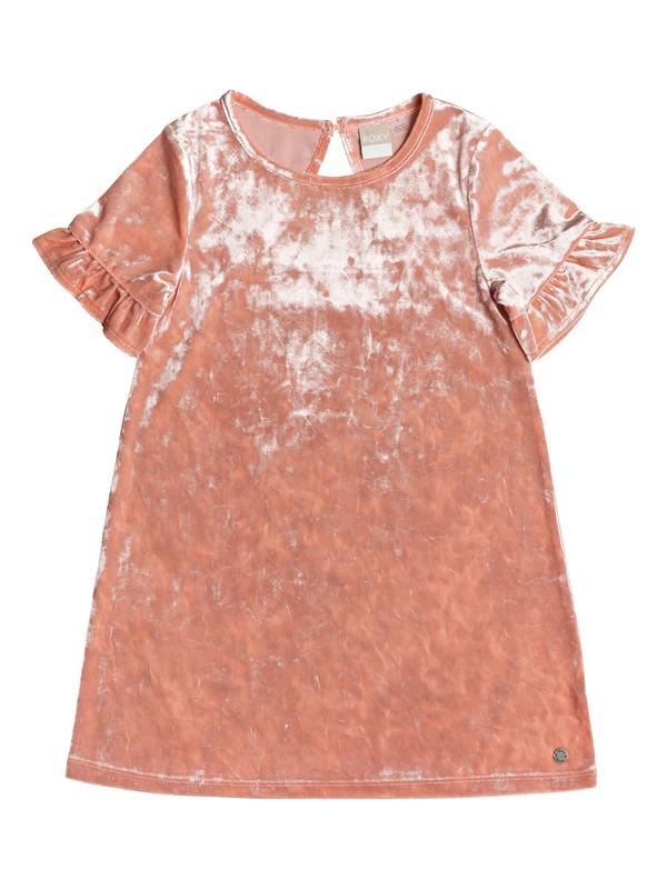 0 Girl's 7-14 Enjoy The Silence Short Sleeve Velvet Dress Pink ERGKD03078 Roxy