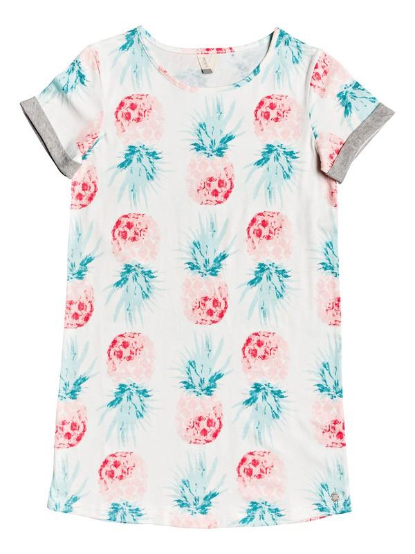 0 Girl's 7-14 Night Jungle Short Sleeve T-Shirt Dress White ERGKD03090 Roxy