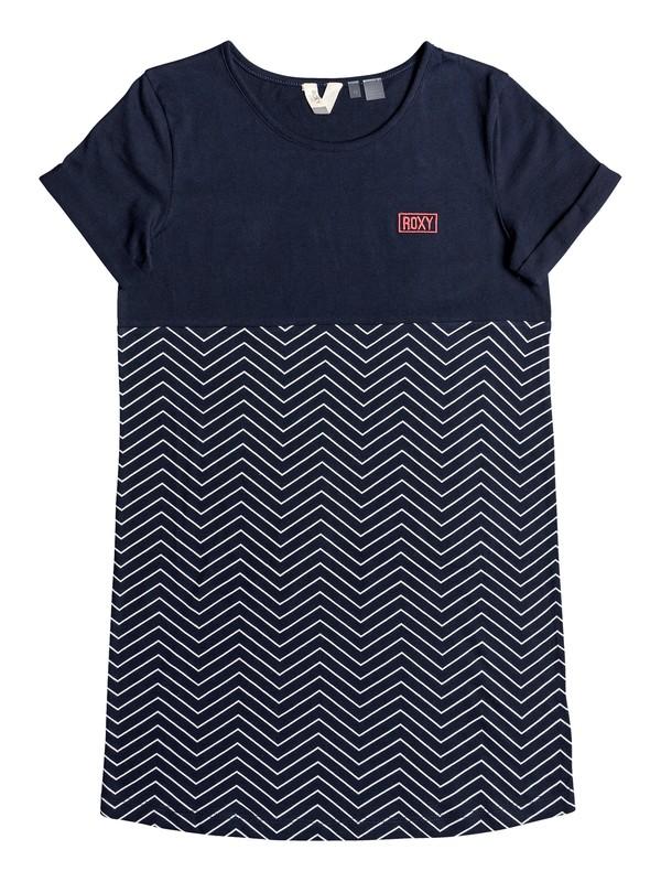 0 Girl's 7-14 Night Jungle Short Sleeve T-Shirt Dress Blue ERGKD03096 Roxy