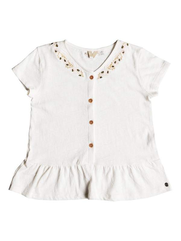 0 Girl's 7-14 Smell In The Air Ruffled Short Sleeve Top White ERGKT03090 Roxy