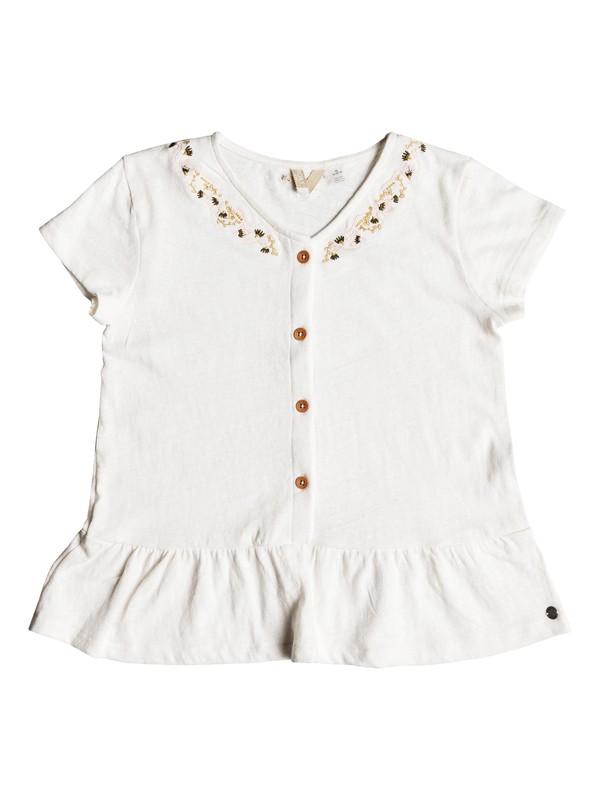 0 Girl's 7-14 Smell In The Air Ruffled Short Sleeve Top White ERGKT03090 Roxy