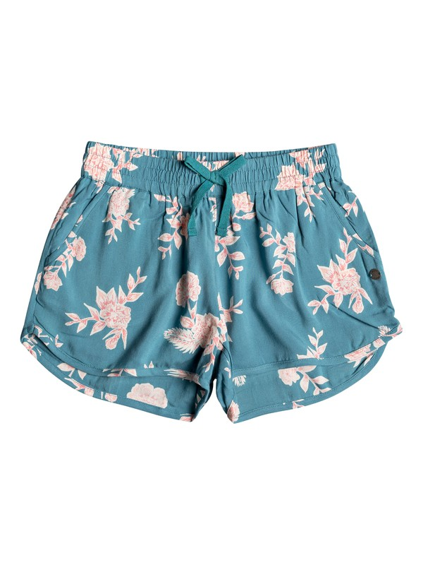 0 Girl's 7-14 Tropical Forest Beach Shorts Blue ERGNS03042 Roxy