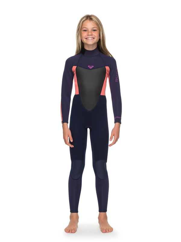 0 Girl's 7-14 3/2mm Prologue Back Zip Wetsuit Blue ERGW103023 Roxy