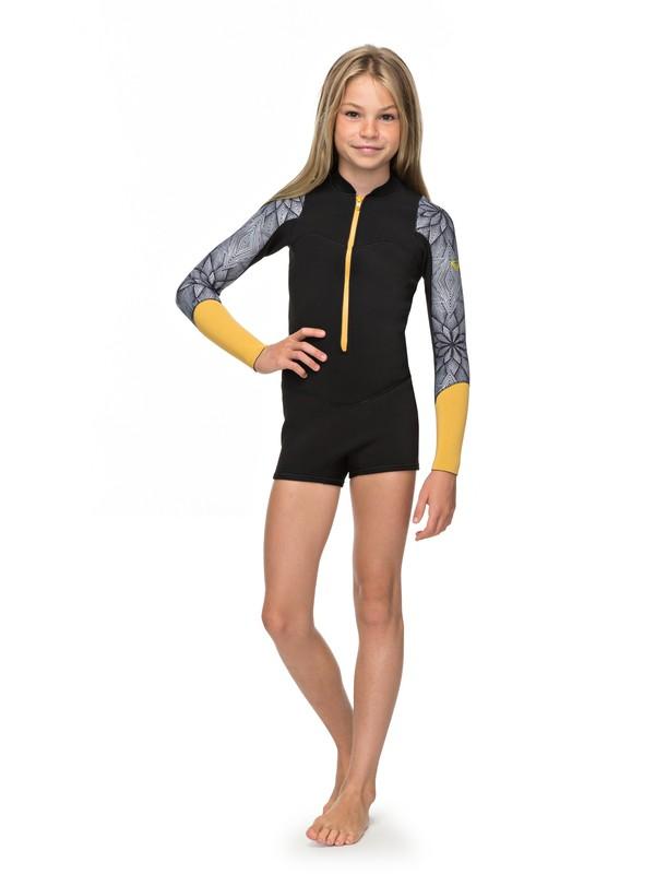 0 2mm POP Surf - Long Sleeve Front Zip Springsuit for Girls 8-16 Black ERGW403003 Roxy