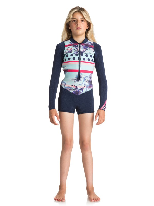 0 Girl's 7-14 2mm Pop Surf Long Sleeve Front Zip Springsuit Blue ERGW403004 Roxy