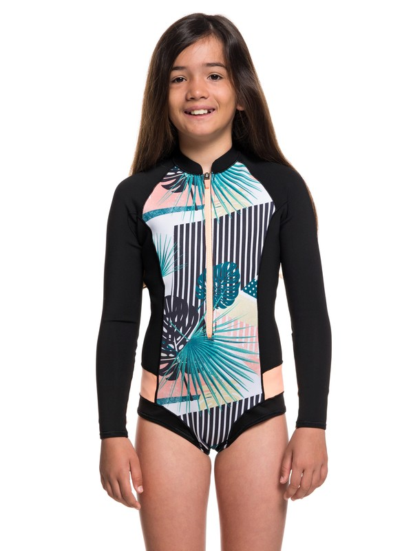 0 Girl's 7-14 1mm POP Surf Long Sleeve Cheeky Cut Springsuit Black ERGW403007 Roxy