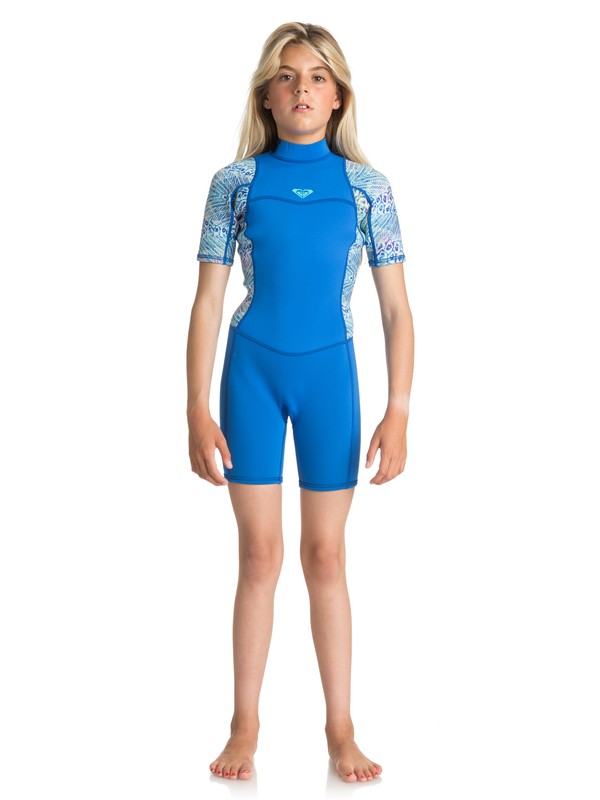 0 2/2mm Syncro Series - Short Sleeve Back Zip FLT Springsuit for Girls 8-16 Blue ERGW503004 Roxy