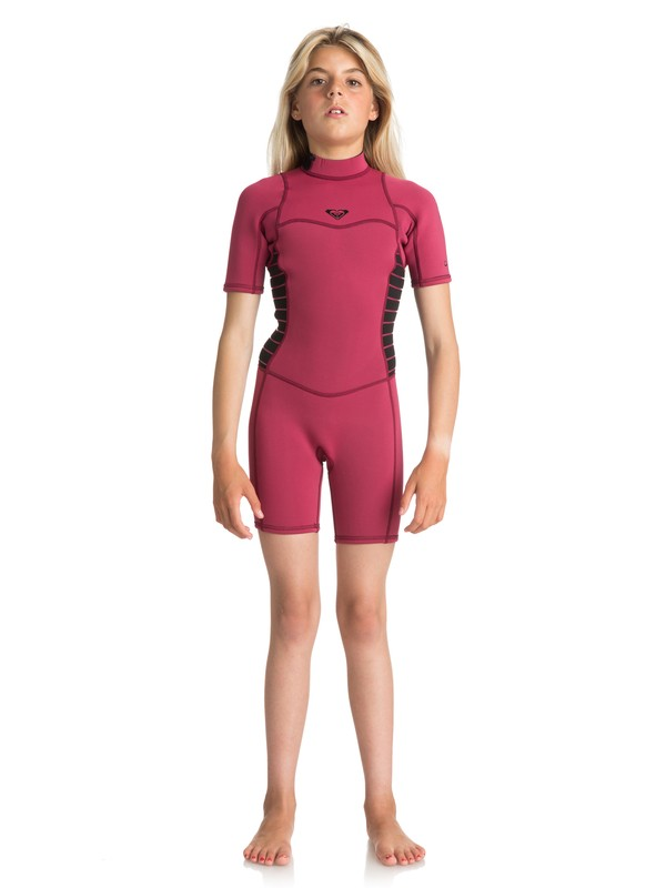 0 2/2mm Syncro Series - Short Sleeve Back Zip FLT Springsuit for Girls 8-16 Red ERGW503004 Roxy