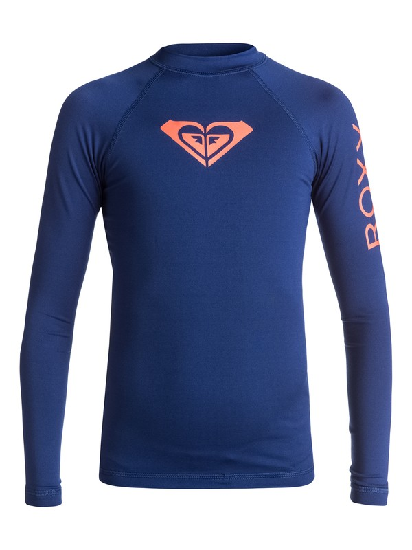 0 Girl's 7-14 Whole Hearted Long Sleeve UPF 50 Rashguard Blue ERGWR03007 Roxy