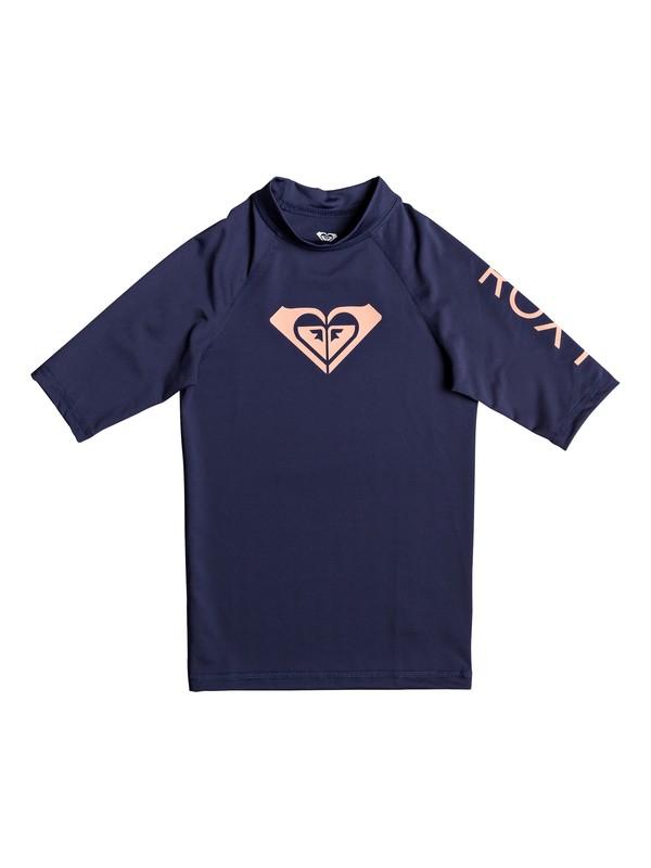 0 Girl's 7-14 Whole Hearted Short Sleeve UPF 50 Rashguard Blue ERGWR03079 Roxy