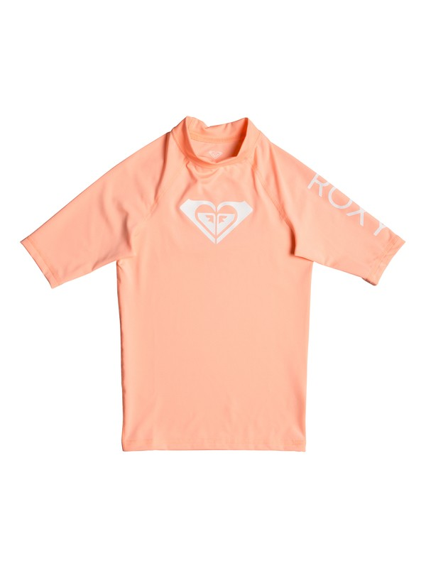 0 Girl's 7-14 Whole Hearted Short Sleeve UPF 50 Rashguard Pink ERGWR03079 Roxy