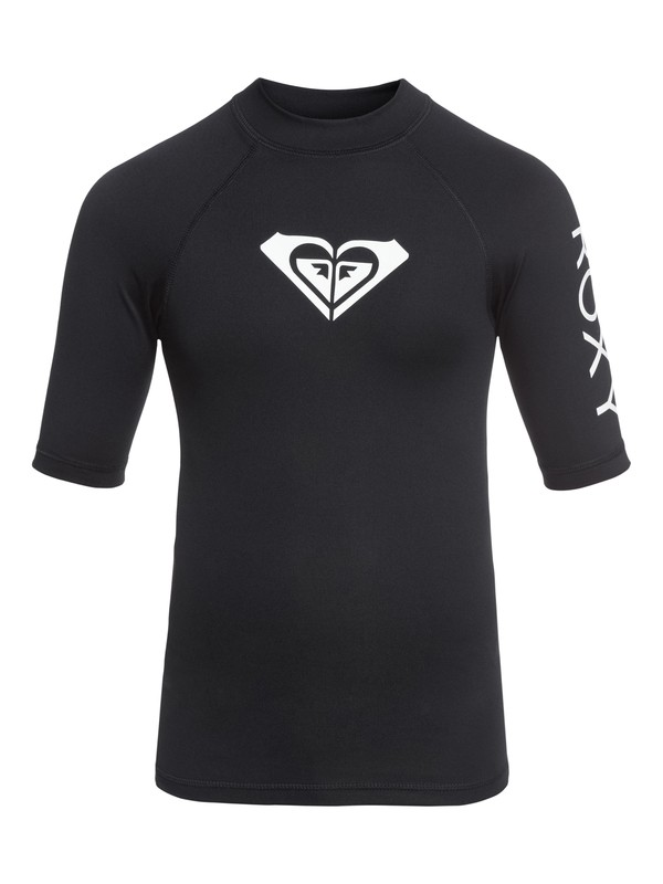 0 Girl's 7-14 Whole Hearted Short Sleeve UPF 50 Rashguard Black ERGWR03079 Roxy