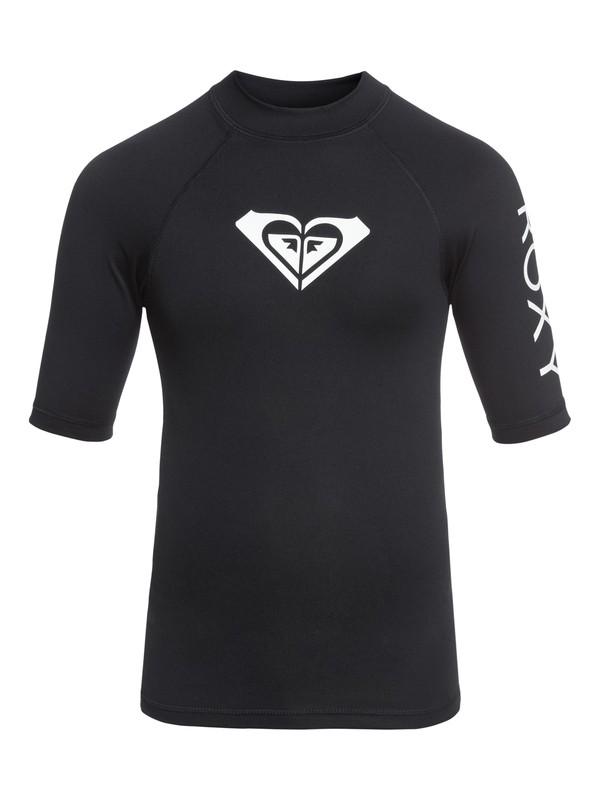 0 Girl's 7-14 Whole Hearted Short Sleeve UPF 50 Rashguard Black ERGWR03079 Roxy