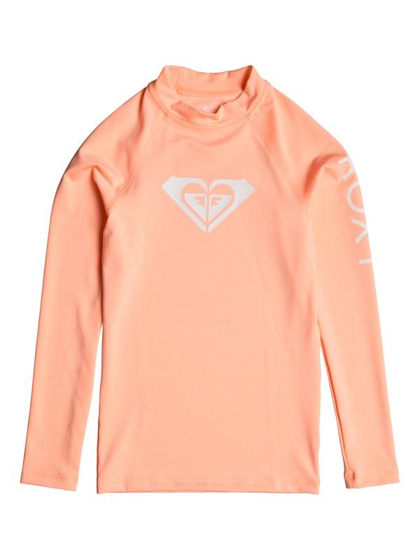 0 Girl's 7-14 Whole Hearted Long Sleeve UPF 50 Rashguard Pink ERGWR03081 Roxy