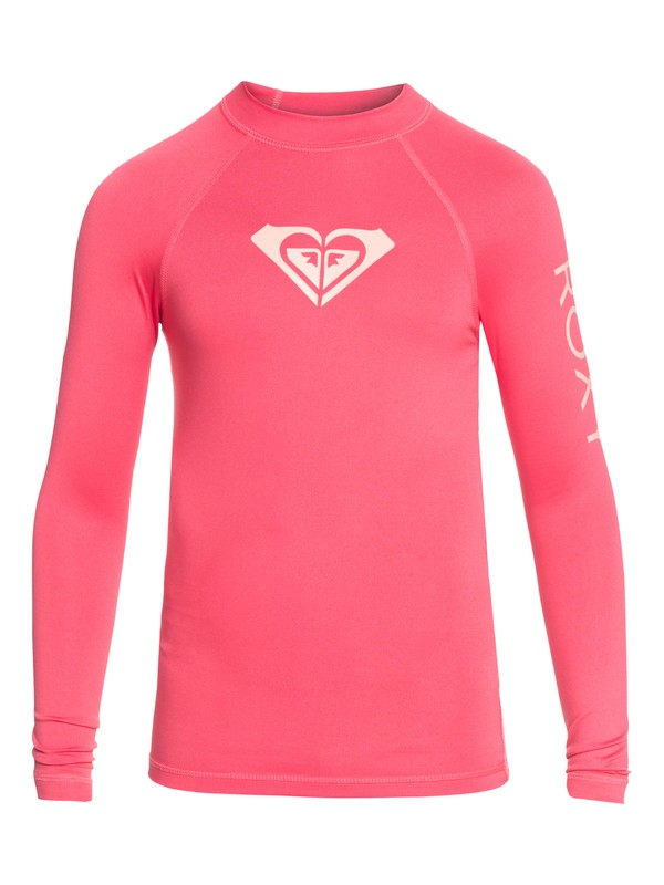 0 Girl's 7-14 Whole Hearted Long Sleeve UPF 50 Rashguard Pink ERGWR03081 Roxy