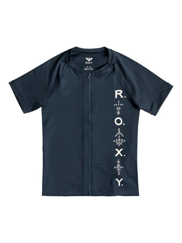 0 Girl's 7-14 Desert Rocker Short sleeve UPF 50 Front Zip Rashguard Blue ERGWR03096 Roxy