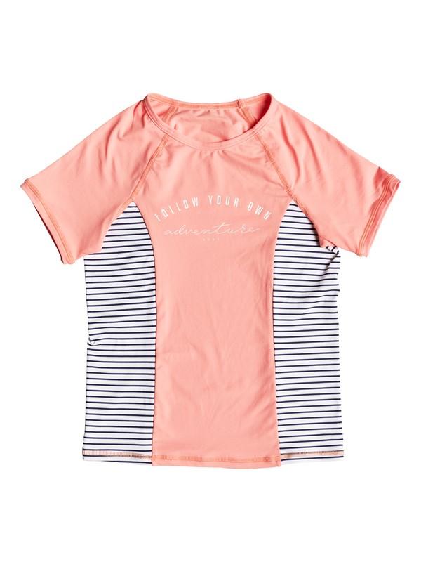 0 Girl's 7-14 Tropi Sporty Short Sleeve UPF 50 Rash Guard Pink ERGWR03109 Roxy