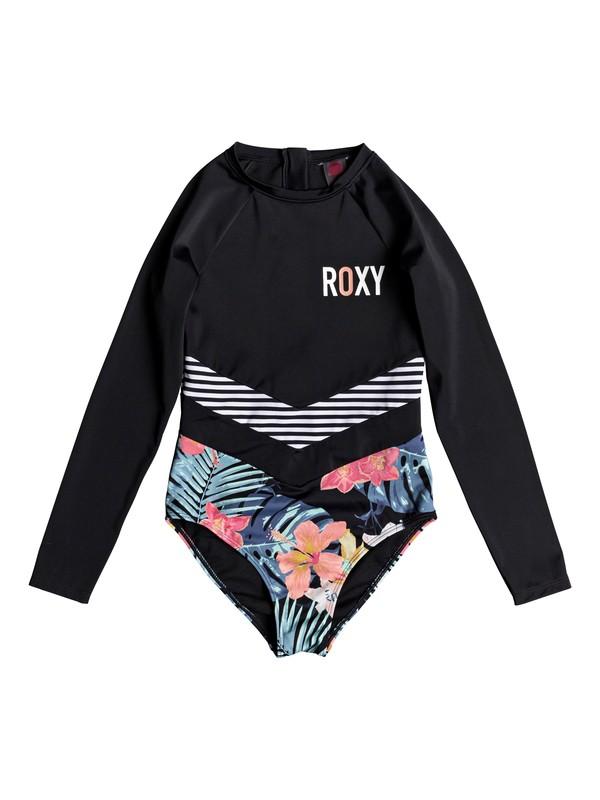 0 Girl's 7-14 Island Trip Long Sleeve UPF 50 One-Piece Swimsuit Black ERGWR03113 Roxy