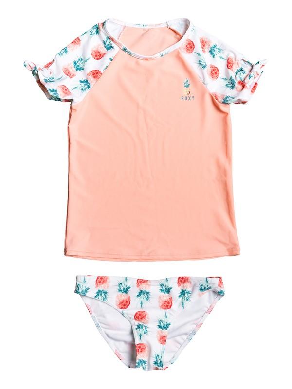 0 Girl's 7-14 Kind Of Fun Short Sleeve UPF 50 Rashguard Set White ERGWR03138 Roxy