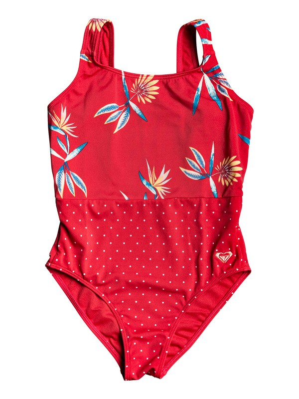 0 Girl's 7-14 Folky Way One-Piece Swimsuit Red ERGX103057 Roxy