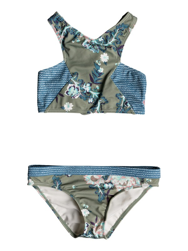 0 Girl's 7-14 Surf The Desert Crop Top Set Green ERGX203150 Roxy
