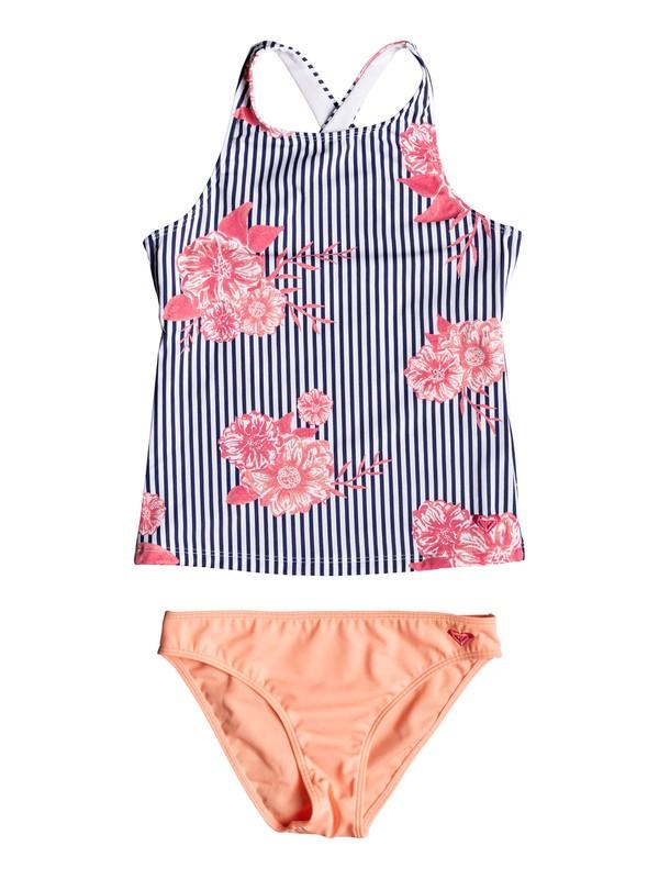 0 Girl's 7-14 Young And Free Tankini Bikini Set Blue ERGX203181 Roxy
