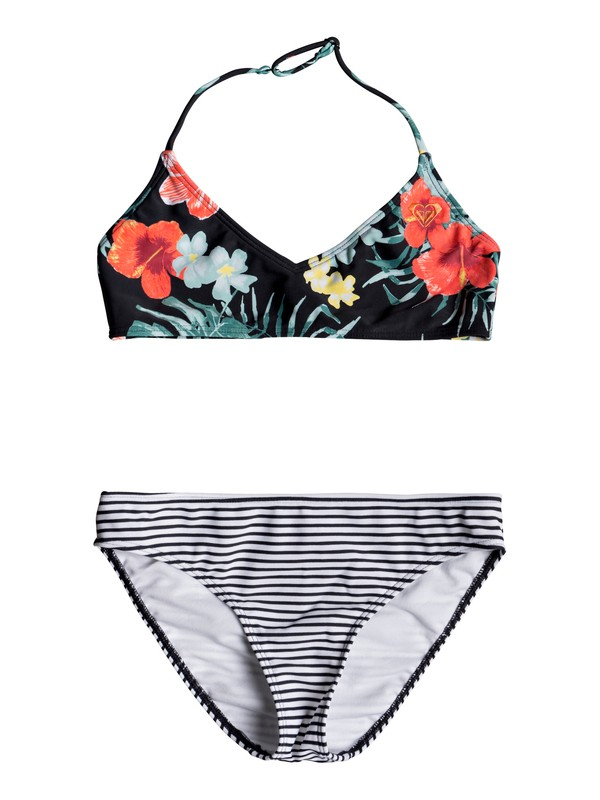 0 Happy Spring - Conjunto de Bikini Triangular Bralette para Chicas 8-16 Negro ERGX203193 Roxy