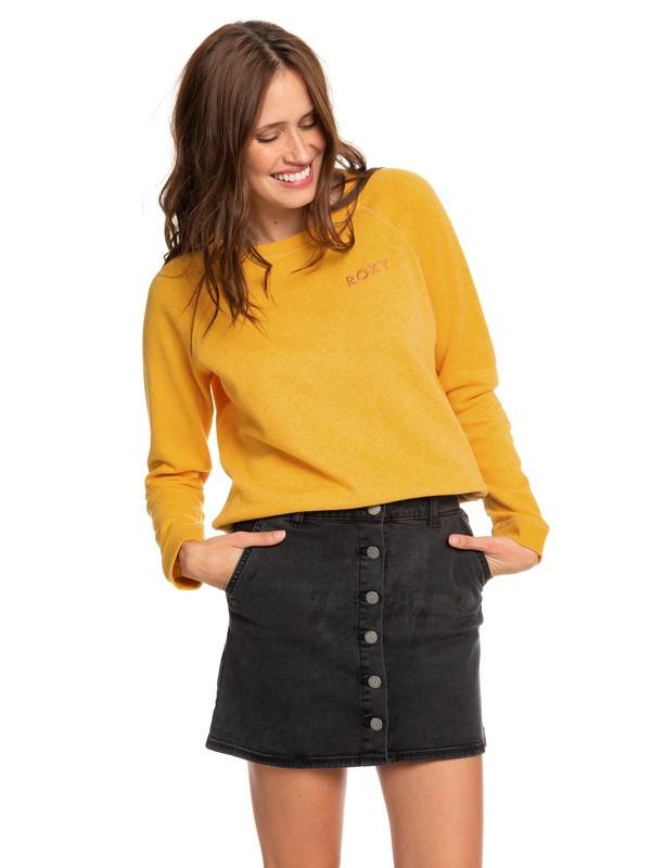 0 Wild Young Spirit Button Through Denim Skirt Black ERJDK03013 Roxy