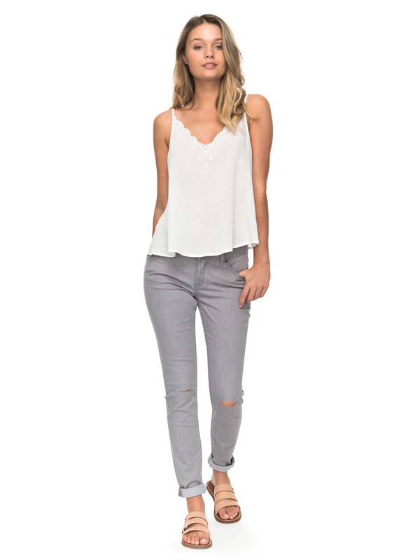 0 Come Show Up High-Waist Skinny Jeans Grey ERJDP03175 Roxy