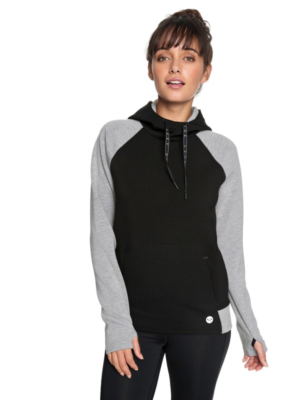 0 By Here Now - Bonded Hoodie for Women Black ERJFT03784 Roxy