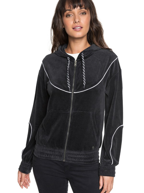 0 Smouldering Flame - Sweat à capuche zippé en velours pour Femme Noir ERJFT03813 Roxy