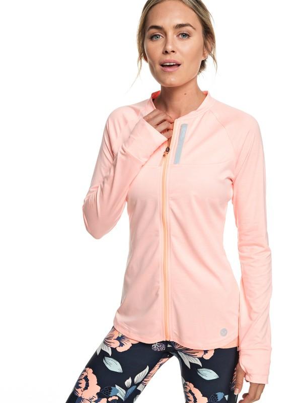 0 Purple Sky - Haut de sport zippé pour Femme Rose ERJFT03889 Roxy